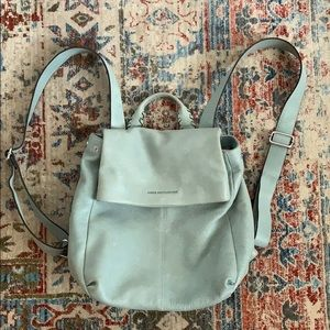 Baby Blue Leather Backpack